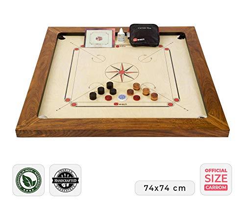 Großmeister Carrom Board Set 16kg - Wettkampf-Hartholz Qualität - Komplettes Set mit Offiziellen Scheiben und Pulver (Carrom)