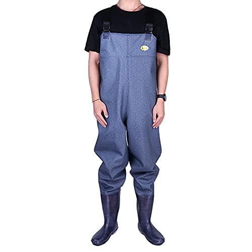 CAMILYIN PVC Vadeadores de Pesca para Hombres Impermeables Transpirables Mujeres Caza vadeadores con Botas Pantalones de Babero para Aguas,Ropa de Trabajo,1,39