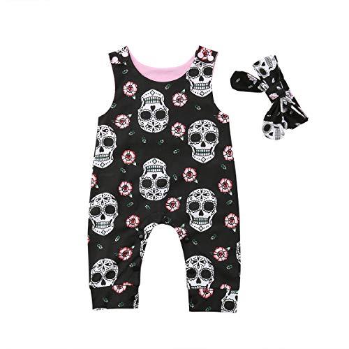 Newborn Infant Baby Girl/Boy Halloween Clothes Skull Floral Romper Jumpsuit Sleeveless Bodysuit Headband Outfit (6-9M, Black)