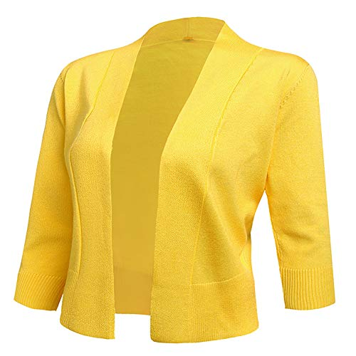 AAMILIFE Women's 3/4 Sleeve Cropped Cardigans Sweaters Jackets Open Front Short Shrugs for Dresses Yellow XL