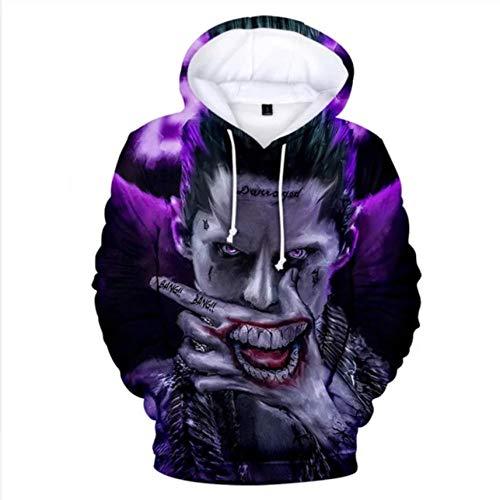 3D Print Joker and Harley Quinn Hoodies Classic Jared Leto and Maegot Robbie Men/Women Hoodie Sweatshirt Hip Hop Boys Clothing-Silver_L