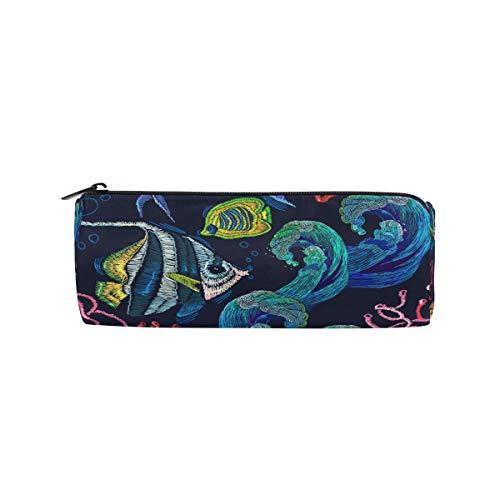 Zylinder-Federmäppchen, rund, bunt, Meeresfische, Büro, Multifunktionstasche mit Reißverschluss für Studenten, Männer, Frauen