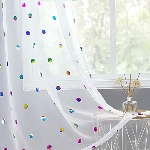 """White Sheer Curtains for Nursery Kids Room Colorful Metallic Polka Dot Pattern Curtain Panels for Girls 63-inch Shiny Circle Foil Printed Light Filtering Voile Rod Pocket Window Drapes 52"""" W 2pcs"""