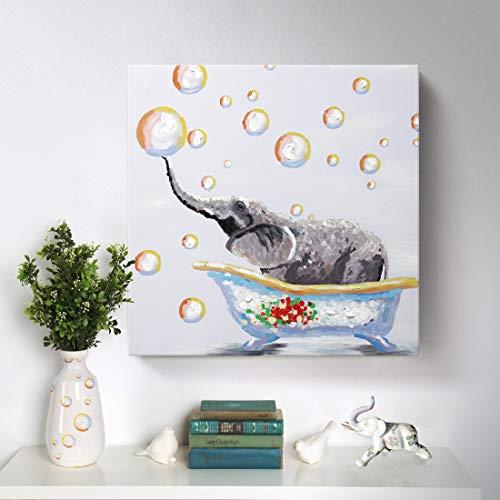 Bathroom Wall Art 100% Hand-Painted Cute Elephant Oil...