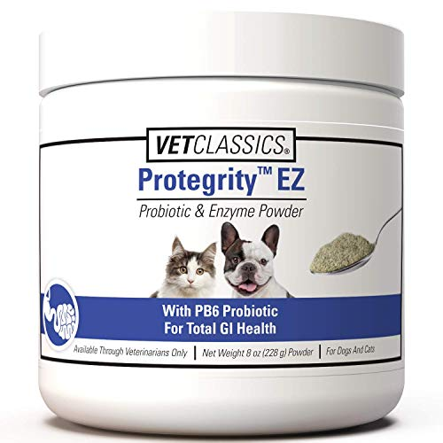 Vet Classics Protegrity EZ Probiotic & Enzyme for Dogs & Cats, with PB6 for Optimal Stomach & Intestinal Balance, Helps Normal Digestive Balance & Gastrointestinal Health, 8 OZ Powder