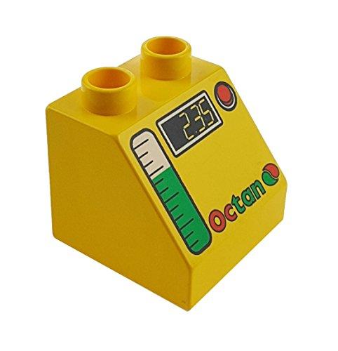 1 x Lego Duplo Schräg Stein gelb Dachstein 45° 2 x 2 Motivstein 6474pb24 Octan 2.35 grün weiss rot Zug Verkehr Rennen Eisenbahn Tankstelle Auto Werkstatt