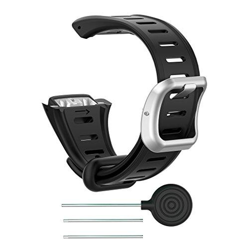 Ersatzband aus Silikon für FT60 Polar Smart Pulsuhr, Schwarz , BK