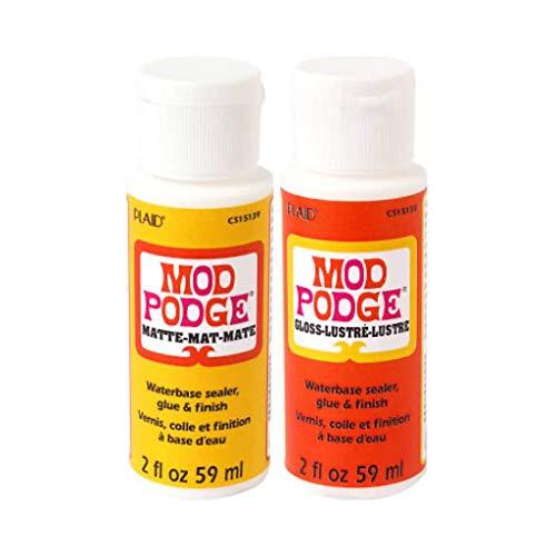 Krafty Kit Mod Podge Bundle: 2oz Gloss and 2oz Matte Water-Based Glue, Sealer &...