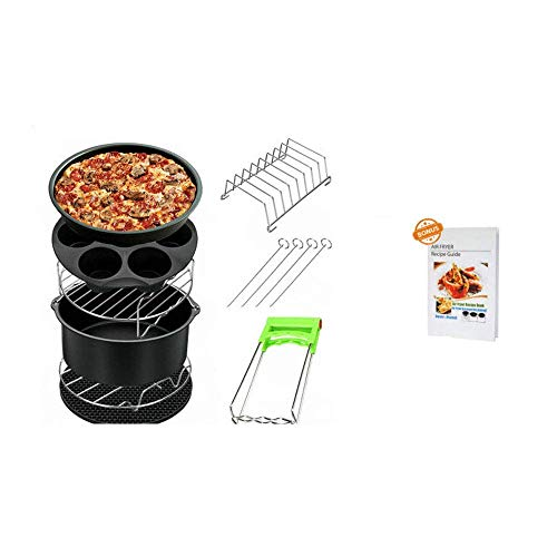 Pkfinrd 7-Zoll-Air Fryer Zubehör 8 Set Kit 3.5-5.8Qt Kuchen Keg Pizza Pan Silikon-Matte Halter Double Layer-Rack mit Spieße Fit Alle Marken Air Fryer BBQ Grillbesteck
