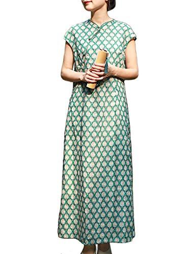 LZJN Mujeres Vestido de Verano Chino Cheongsam Largo Chino Moderno Qipao Algodón de Lino Estilo Oriental Vestido Qipao (2229 Green, L)