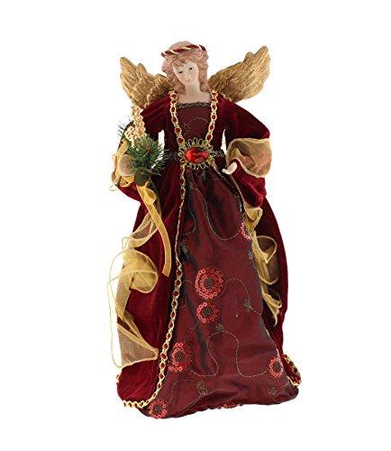 Festive, Angelo grande, colore bordeaux, con ricami, 40 cm