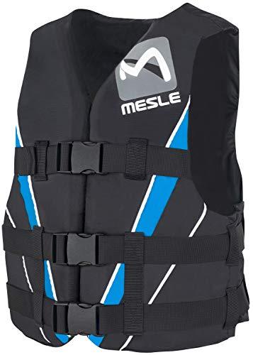 MESLE Schwimmweste V210, XS-XL, blau-schwarz, 50-N Auftriebsweste Prallschutz Schwimmhilfe, für Erwachsene und Jugendliche, Wasserski Wakeboard Impact-Vest, Nylon, Boot Jet-Ski Yacht, Größen:S