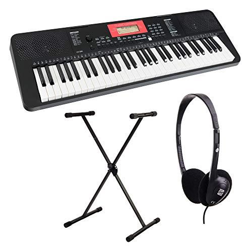 Classic Cantabile LK-290 Leuchttasten-Keyboard -Set 61 Tasten mit Anschlagdynamik - 580 Klänge und 200 Begleitrhythmen - inkl. X-Keyboardständer & Kopfhörer- schwarz