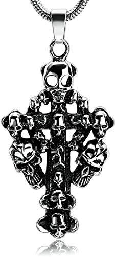 NC110 Encanto de Moda Personalizado Clásico Retro Punk Rock Charm Collar Acero Inoxidable Hombres Boy Cruz y cráneo Colgante Collar YUAHJIGE