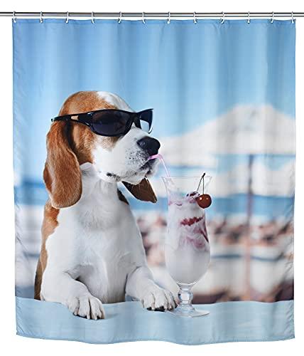 WENKO Duschvorhang Cool Dog - waschbar, wasserabweisend mit 12 Duschvorhangringen, Polyester, 180 x 200 cm, Mehrfarbig