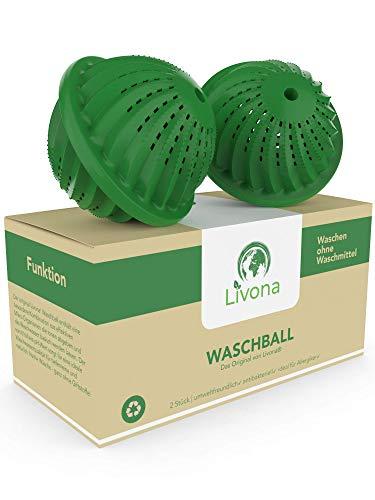 Livona - Sfera di lavaggio ecologica, lavabile, senza detersivo, sostenibile ed ecologico, confezione conveniente, alta qualità per chi soffre di allergie, bambini e attenti all'ambiente