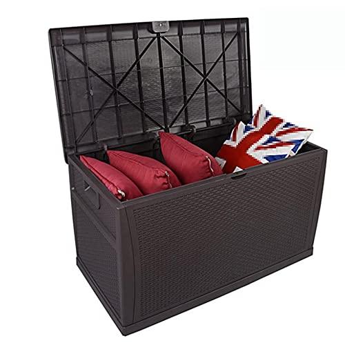 Caja grande de resina de 47 x 24 x 24 pulgadas, almacenamiento al aire libre para muebles de patio, cojines al aire libre, herramientas de jardín, impermeable, bloqueable