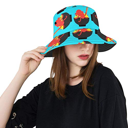 RAUP Chinese Noodle Squid Pattern Seamless Soup Bucket Hats Summer Travel Beach Sun Hat Outdoor Cap Unisex