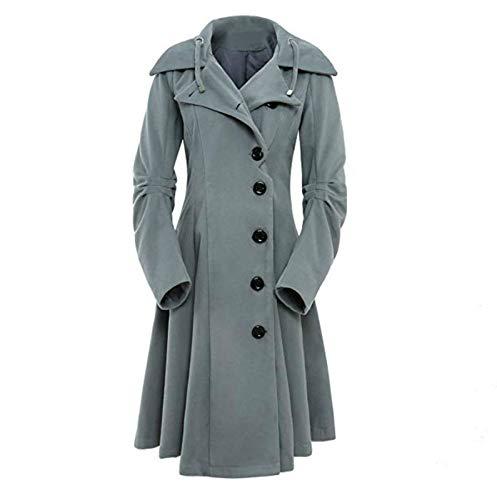 Damen Wolltuch Mantel Wollmantel Zweireiher Coat, Wollmischung Jacke Kleid Slim Windbreaker Trenchcoat Lange Ärmel Umlegekragen Outwear mit Kapuzen