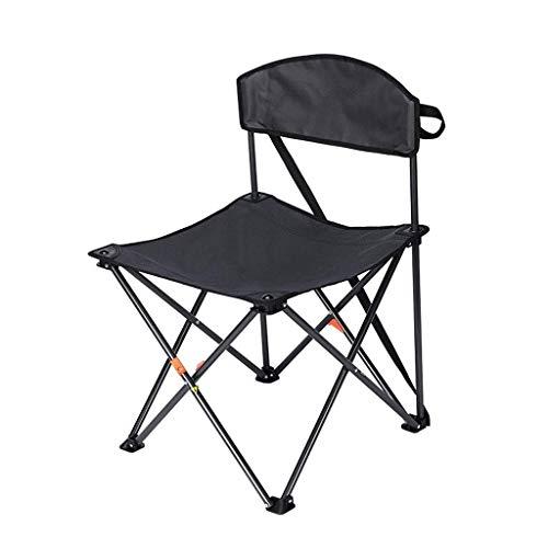 AOIWE Sillas Plegables Silla de Camping al Aire Libre Que acampan con Respaldo Compacto portátil Ligero acampa de la Pesca de Maquinaria en, Negro