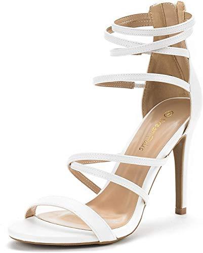 DREAM PAIRS Women's Show White Pu High Heel Dress Pump Sandals - 7.5 M US (Pink White High Heel)