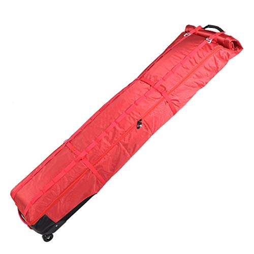JHKGY Bolsa de esquí acolchada con ruedas, bolsa acolchada para snowboard con ruedas – Bolsa impermeable para deportes de nieve, perfecta para viajes por carretera y viajes en aire, color rojo