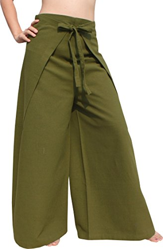 RaanPahMuang Brand Plain Cotton Thai Drive in Wrap Around Pants Wide Cut Casual, X-Large, Rifle Green