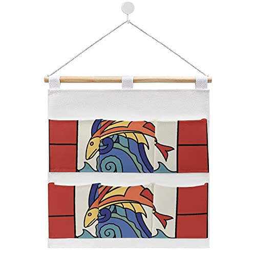 Bolsa de almacenamiento para colgar en la pared, diseño de azulejos de peces voladores en la puerta y armario con 6 bolsillos para la familia, baño, dormitorio, cocina