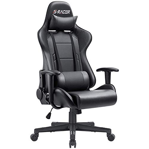 Furniwell Gaming Chair Office Chair Racing Desk Chair Adjustable Swivel High Back PU Leather Executive Ergonomic Computer Chair with Headrest and Lumbar Support(Black)