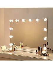 Bright Beauty Vanity – Espejo Hollywood – Espejo de maquillaje – Espejo de maquillaje con iluminación – Espejo profesional – 3 modos de luz – Dimbar ...