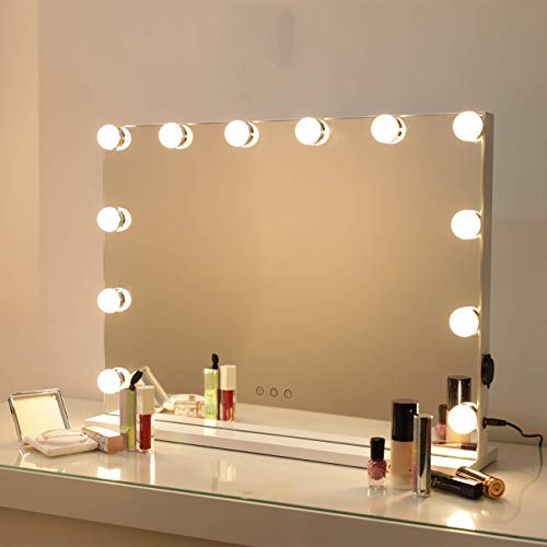Bright Beauty Vanity - Hollywood Spiegel - Make up Spiegel - Schminkspiegel mi Beleuchtung - Proffesionelle Kosmetikspiegel - DREI Lichtmodi - dimbar… (Weiß - 58 x 46)
