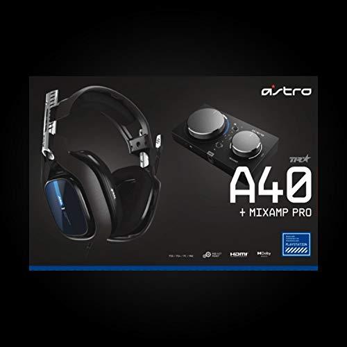 ASTRO Gaming A40 TR, Gaming-Headset mit Kabel, MixAmp Pro TR, Gen 4, ASTRO Audio V2, Dolby Audio, Austauschbares Mikrofon, Game/Voice Balance Control, Kompatibel mit PS5, PS4, PC, Mac - Schwarz/Blau