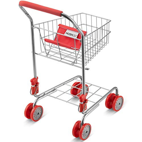 HUSHLILY - Toy Shopping Cart Foldable with Swivel Smooth Wheels, Folds for Easy Storage, for Kids and Toddlers, Age 3 Years & Up - Red