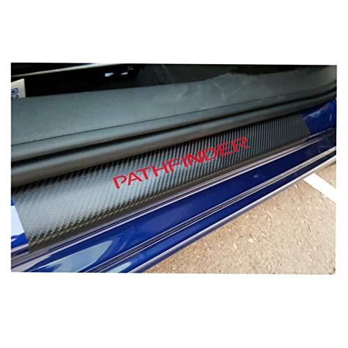 Dörrtröskel Scuff Plate Bilklistermärke kompatibel med Nissan Pathfinder kolfiber Vinyl klistermärke Bildörr Sill Protector Tröskelplåt Car Tillbehör 4st Applikation (Color : Red)