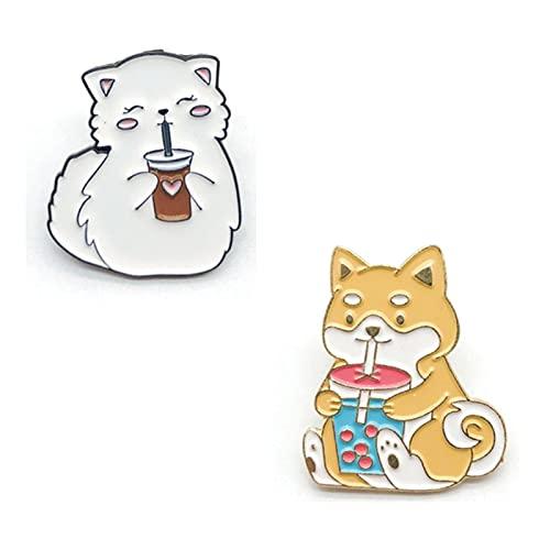 HCMA 2 Piezas de Dibujos Animados Gato y Perro Bebida Leche té...