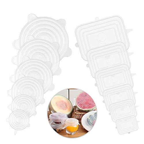 Enllonish Dehnbare Silikondeckel, 12 Stück Silikon Stretch Deckel in Verschiedenen Größen, BPA Free Wiederverwendbare Silikon Frischhalte Abdeckung für GläSer, TöPfe, Becher, Dosen, Melone