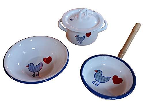 Münder Emaille Set Herzvogel Kinder - Kochgeschirr Pfanne + Topf + Schale