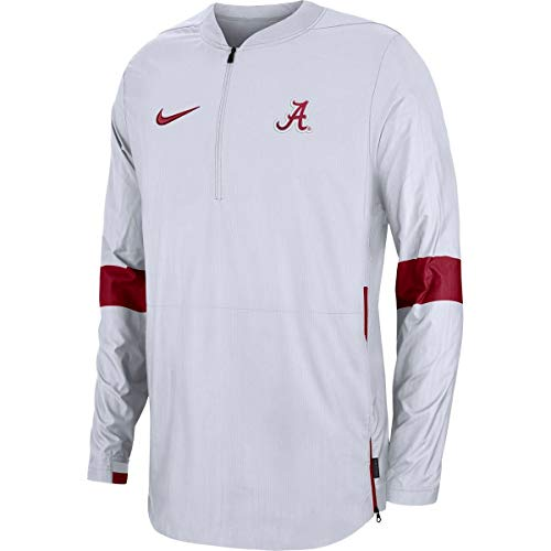 Nike Men's Alabama Crimson Tide Coaches Quarter-Zip Jacket White (X-Large)