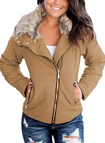 Vetinee Women Casual Faux Fur Lapel Zip Pockets Quilted Parka Jacket Puffer Coat Brown Medium (Fits US 8-US 10)