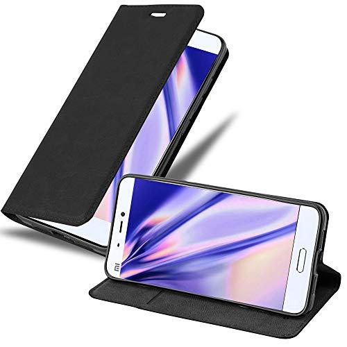 Cadorabo Hülle für Xiaomi Mi 5 - Hülle in Nacht SCHWARZ – Handyhülle mit Magnetverschluss, Standfunktion & Kartenfach - Hülle Cover Schutzhülle Etui Tasche Book Klapp Style
