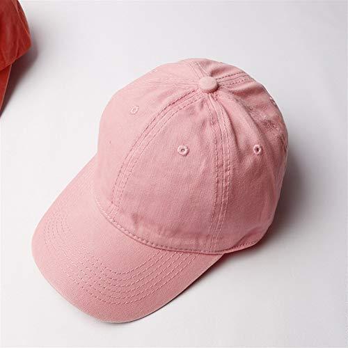 nobrand Gewaschener Baumwolle Denim Baseball-Cap Visier Verstellbare Baseballmütze (Color : Pink, Size : 58cm)