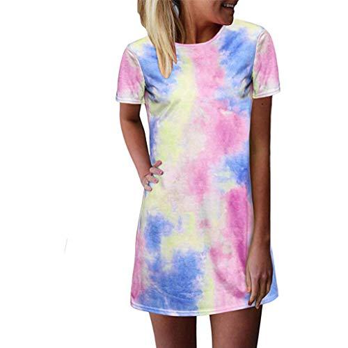 Kleid für Frauen Casual Summer Plus Size, Mode Damen Damen Tie-Dye Printed Sommer Casual T-Shirt Kleider Kurzarm Swing Dress
