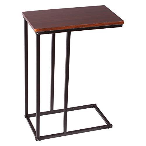 Lestarain Beistelltisch mobiler Kaffeetisch, Sofatisch Laptoptisch Wohnzimmertisch, Pflegetisch mit Metallgestell und Holz, Dunkelbuche 45x25x63,5cm(BxTxH)