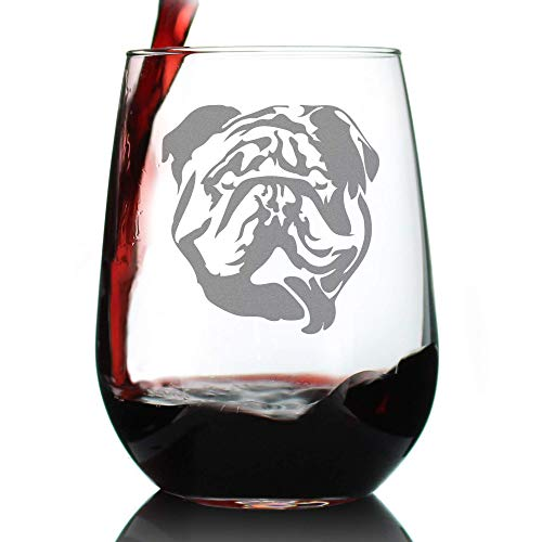 Bulldog Stemless Wine Glass - Large Glasses - Cute Gifts for Dog Lovers with English Bulldogs
