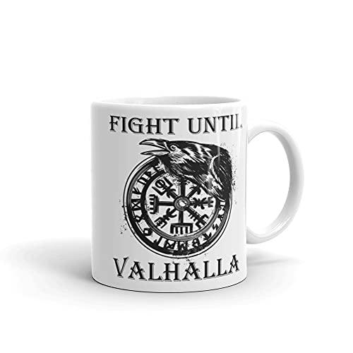Taza vikinga Fight Until Valhalla Rabe Odin Ragna Thor Idea de regalo vikingo