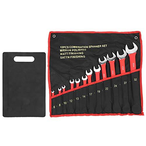 Llave de trinquete fija, trinquete, micrómetro, llave dinamométrica, juego de llaves de trinquete métricas con una herramienta de reparación de garaje con placa magnética, 11,8 x 7,9 x 0,2