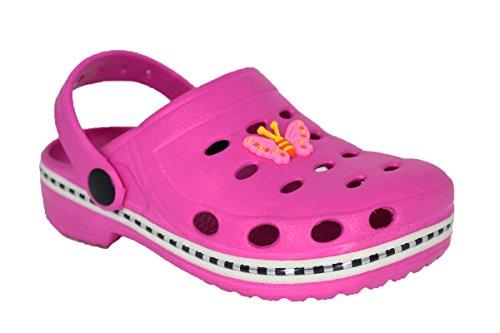 buyAzzo Zuecos de EVA para niños y niñas, zapatillas de estar por casa, para el jardín, para el parque de juegos, con correa en el talón BA641, color Rosa, talla 28/29 EU