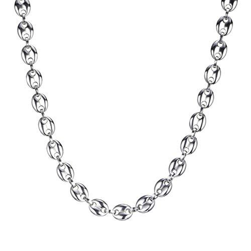 Leiouser 11 mm Kaffeebohnen Ketten Armbänder Edelstahl Halsketten für Männer Frauen Hiphop Statement Charm Schmuck Geschenke für zwei Kinder