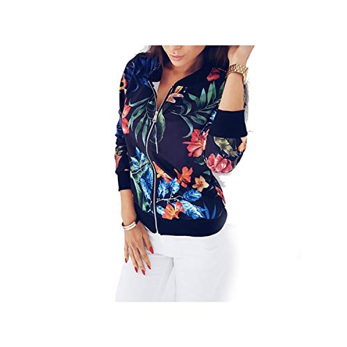 Spring Summer Slim Short Jacket Women Fashion Floral Print Thin Bomber O Neck Long Sleeve Casual Plus Size 2XL Navy Blue