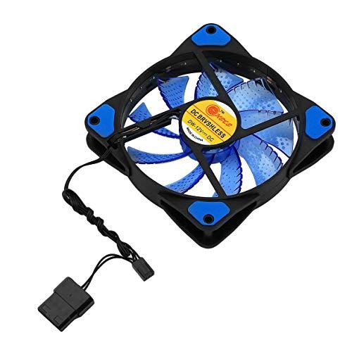 YUIO 120mm LED Ultra silencioso Computadora PC Estuche Ventilador 15 LED 12V con Conector de Goma Molex silencioso Ventilador fácil de Instalar